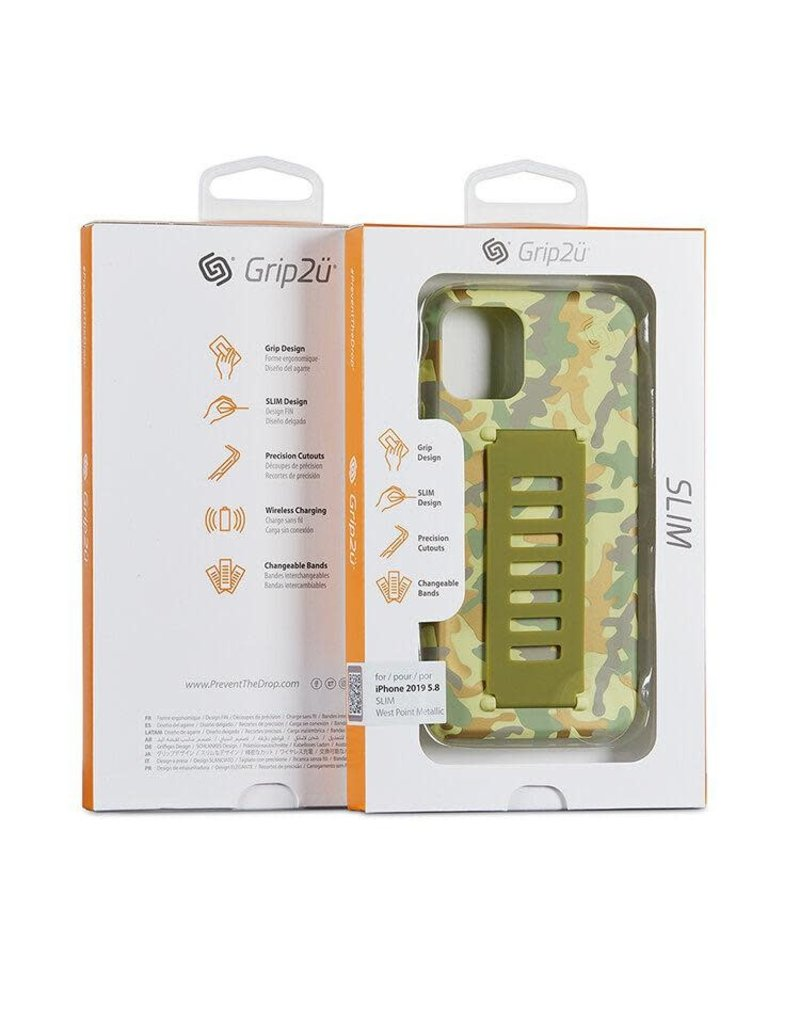Grip2u Grip2u Slim Multiple Hand Grip Case for iPhone 11 Pro - West Point Metallic