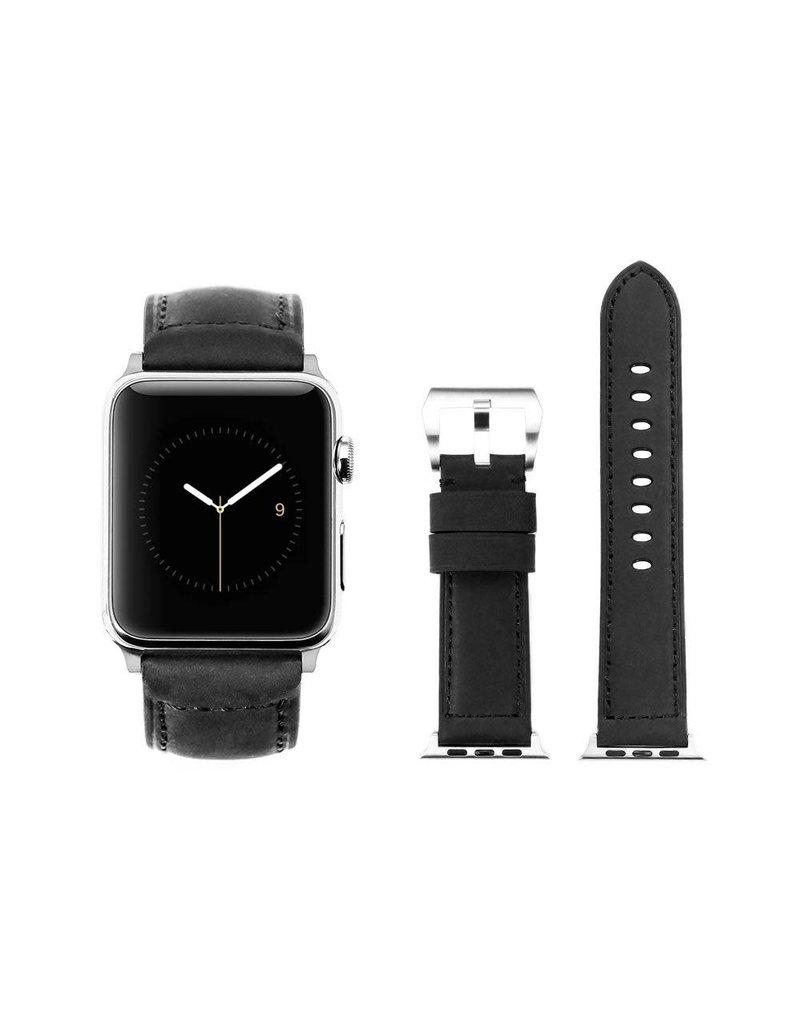 Bull Strap Bull Strap Genuine Bold Leather Strap for Apple Watch 44/42mm - Black Edition Matte/Black