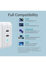 Choetech Choetech 100W Dual Port PD GaN Charger USB-C for MacBook and Phone - White