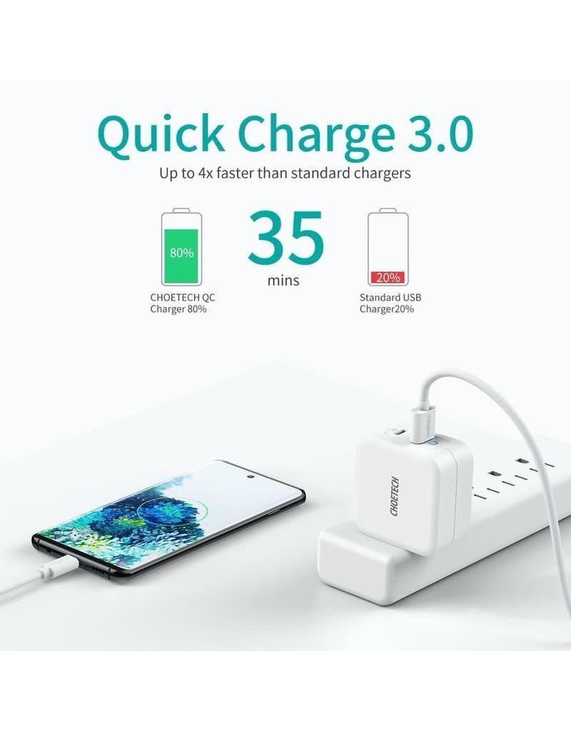 Choetech Choetech Dual Port 65W GaN Mini USB-C PD, USB-QC Fast Charger for MacBook and Phone - White