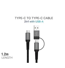 AMAZINGthing AT SUPREMELINK TYPE C TO TYPE C WITH USB A CABLE 1.2M -  BLACK