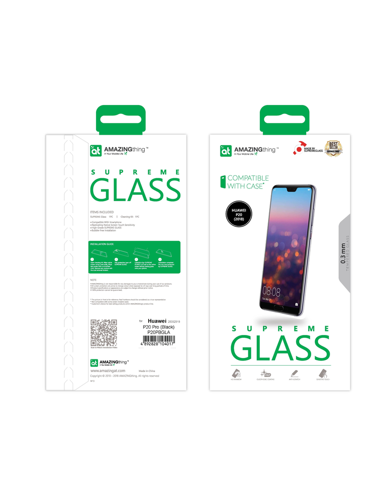 AMAZINGthing AT HUAWEI P20 2.5D 0.3MM FULLY COVERD SUPREME GLASS (BLACK)