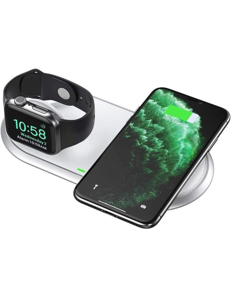 Choetech Choetech 2-In-1 Dual Wireless Charger Pad and Foldable for Apple Watch and iPhone Uk Plug - White