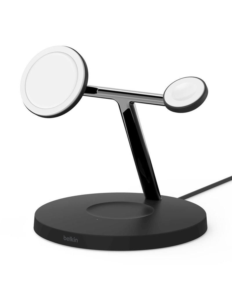 BELKIN Belkin Boost Charge Pro 3-In-1 MagSafe Wireless Charging Stand UK Plug - Black