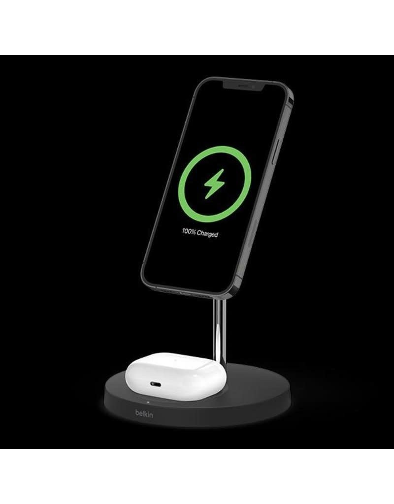 Belkin Boost Charge Pro 2-In-1 MagSafe Wireless Charging  Stand - Black