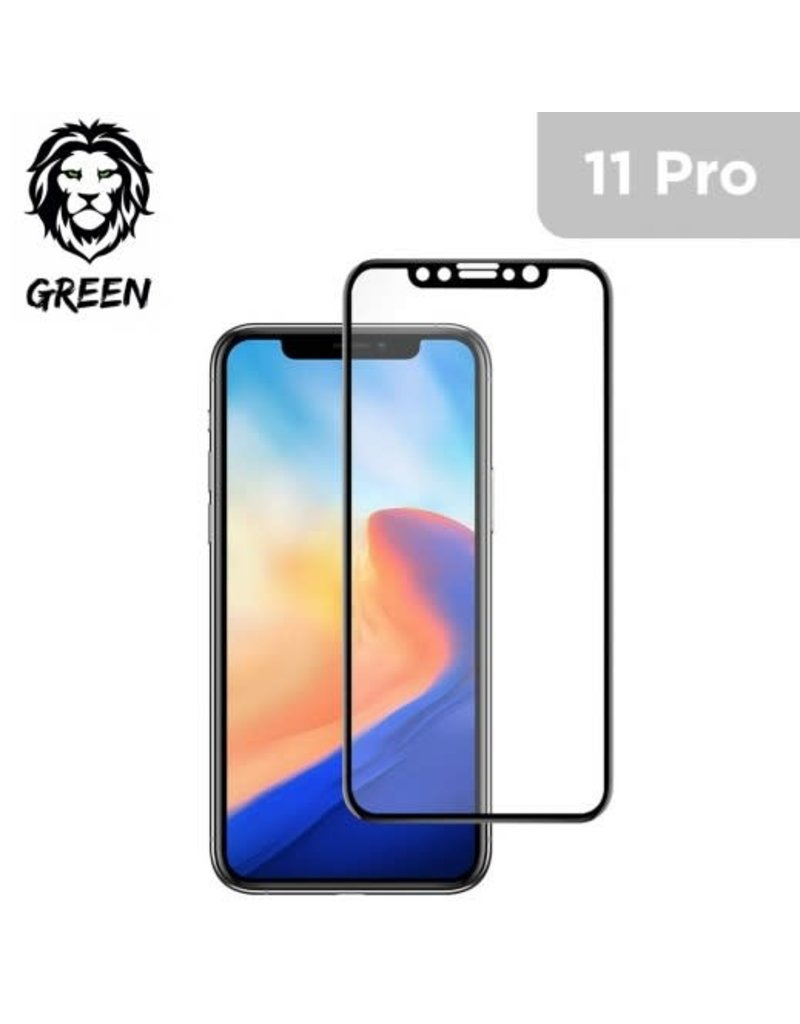 Green 3D Curved Pro Full Round Edge Glass Screen Protector For iPhone 11 Pro - Black