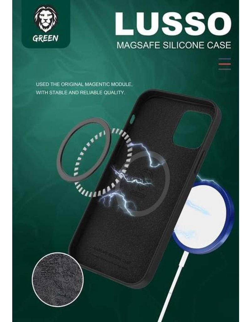 Green Lusso MagSafe Silicone Case For iPhone 12 / 12 Pro - Black