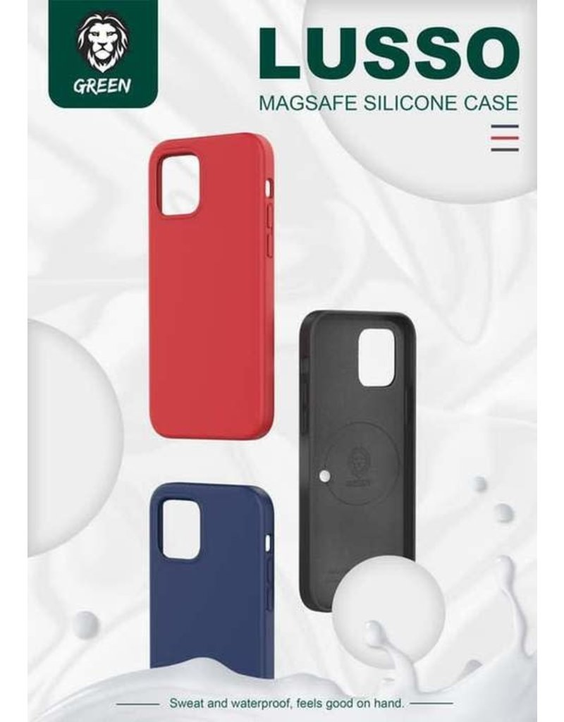 Green Lusso MagSafe Silicone Case For iPhone 12 / 12 Pro - Blue