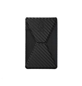 Green Premium Leather Phone Stand - Carbon Fiber Black
