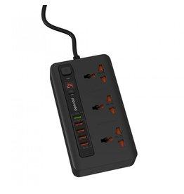 porodo Porodo  Fast Charging With QC3.0 Power Socket and USB Hub With Timer 3 AC Socket 5 USB Ouputs 33W - Black