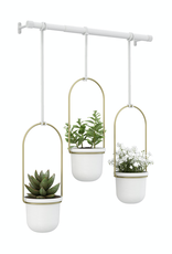Umbra Umbra Triflora Hanging Planter-White-Brass