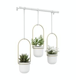 Umbra Triflora Hanging Planter-White-Brass