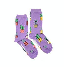 Friday Sock Co Purple Potted Plant Crew Socks