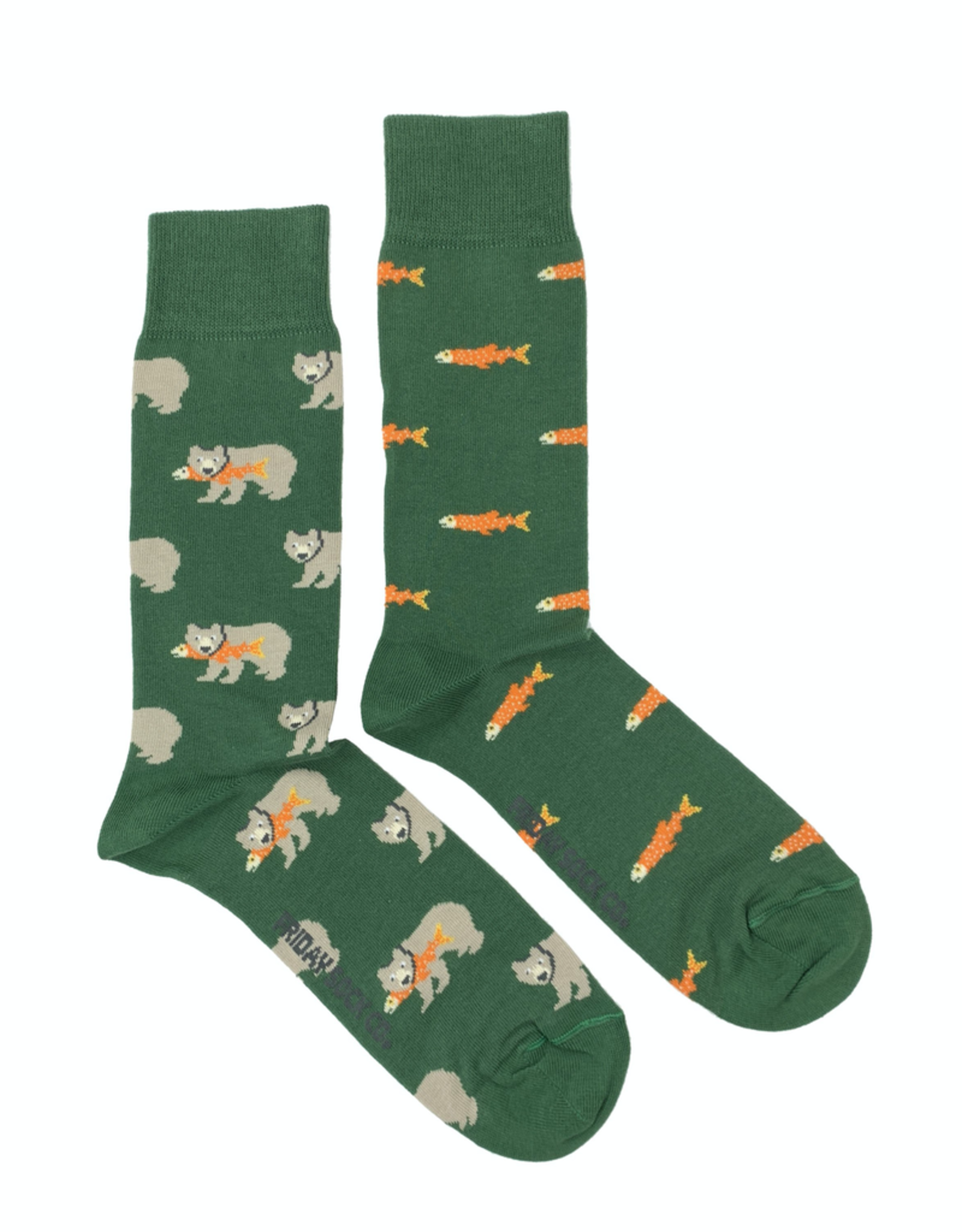 Friday Sock Co Salmon And Grizzly Bear Socks