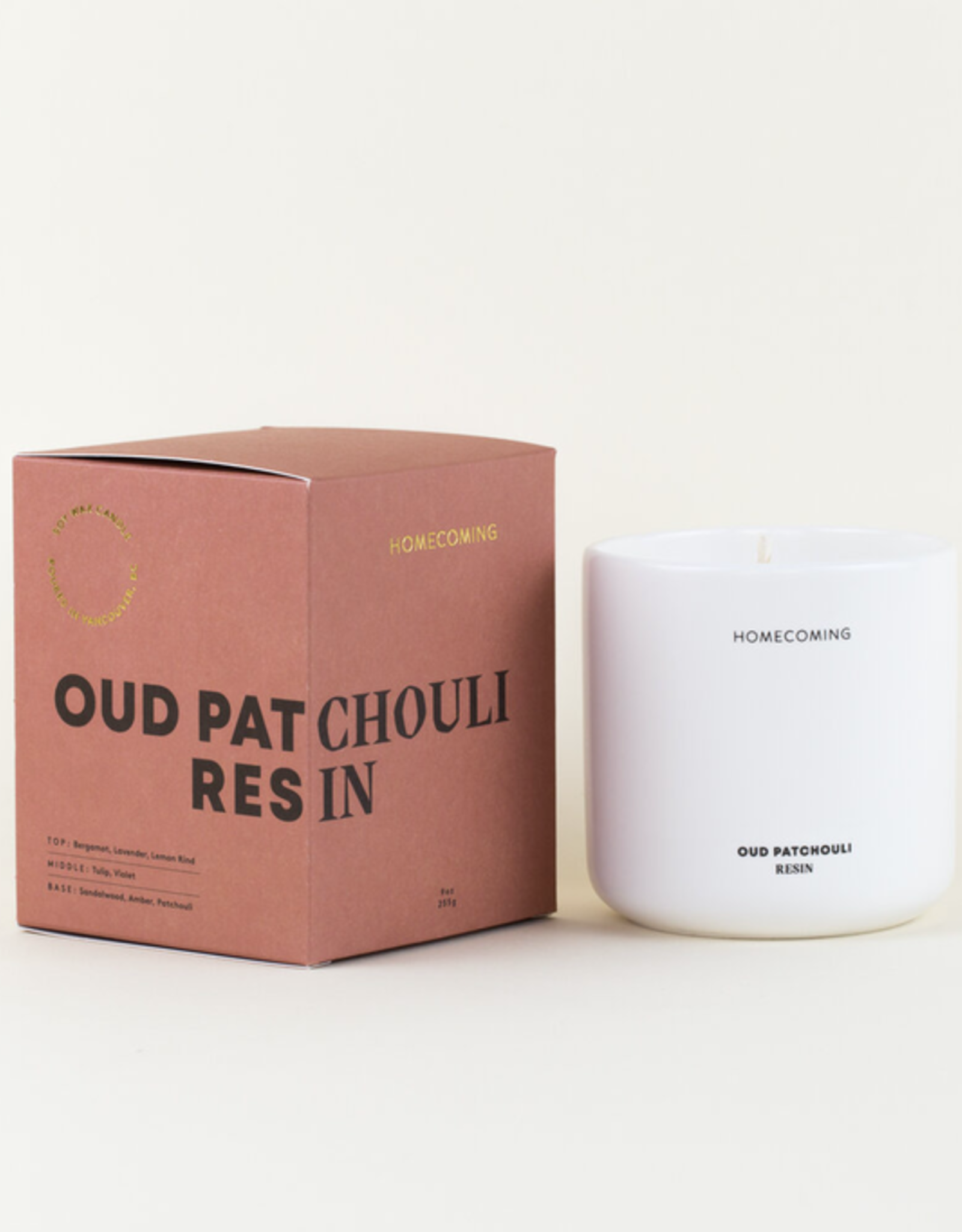 Homecoming Candles Homecoming Candles-Oud Patchoulii Resin Deluxe Ceramic Candle