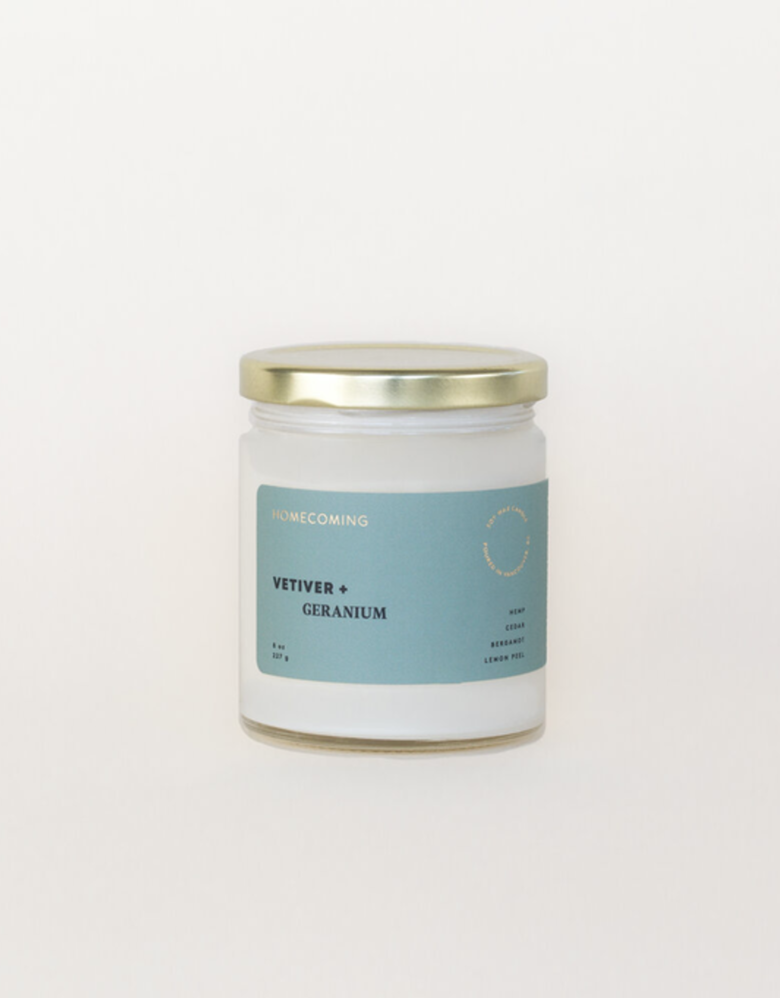 Homecoming Candles Vetiver And Geranium Candle