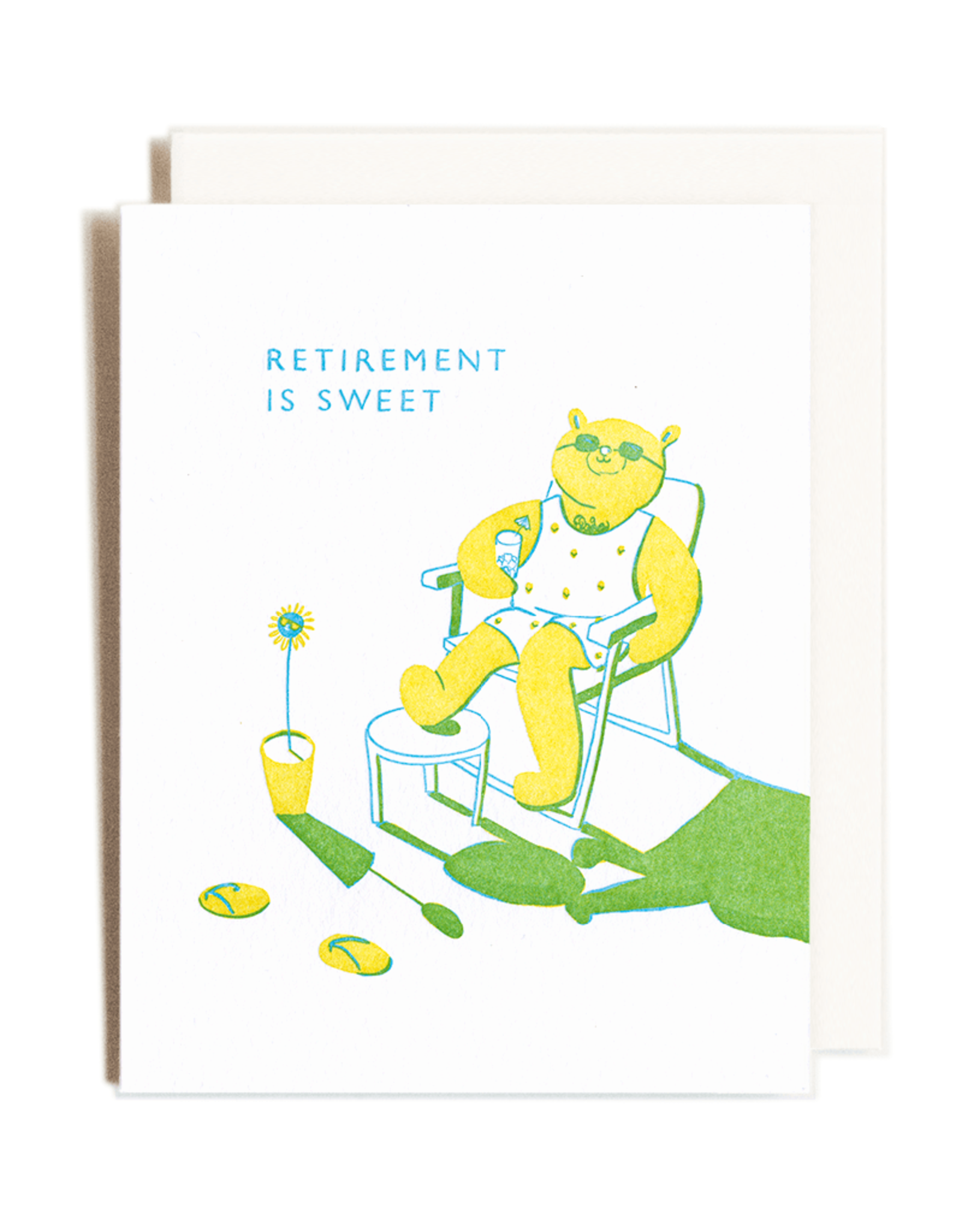 Homework Letterpress Homework Letterpress Retirement Bear Card