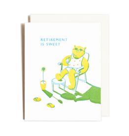Homework Letterpress Retirement Bear Card