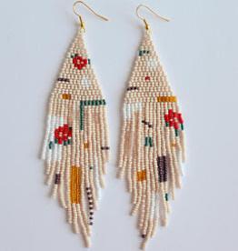 Boosiko Beaded Floral Earrings Geometric