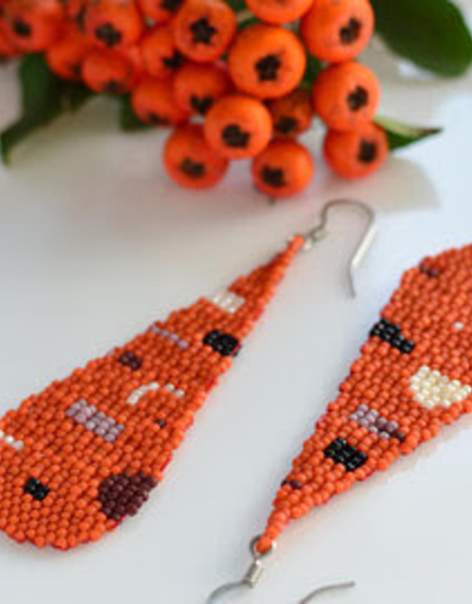 Boosiko Beaded Teardrop Earrings - Terracotta