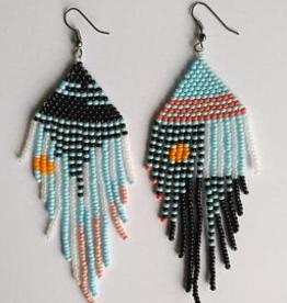 Boosiko Beaded Aysemmetrical  Abstract Earrings