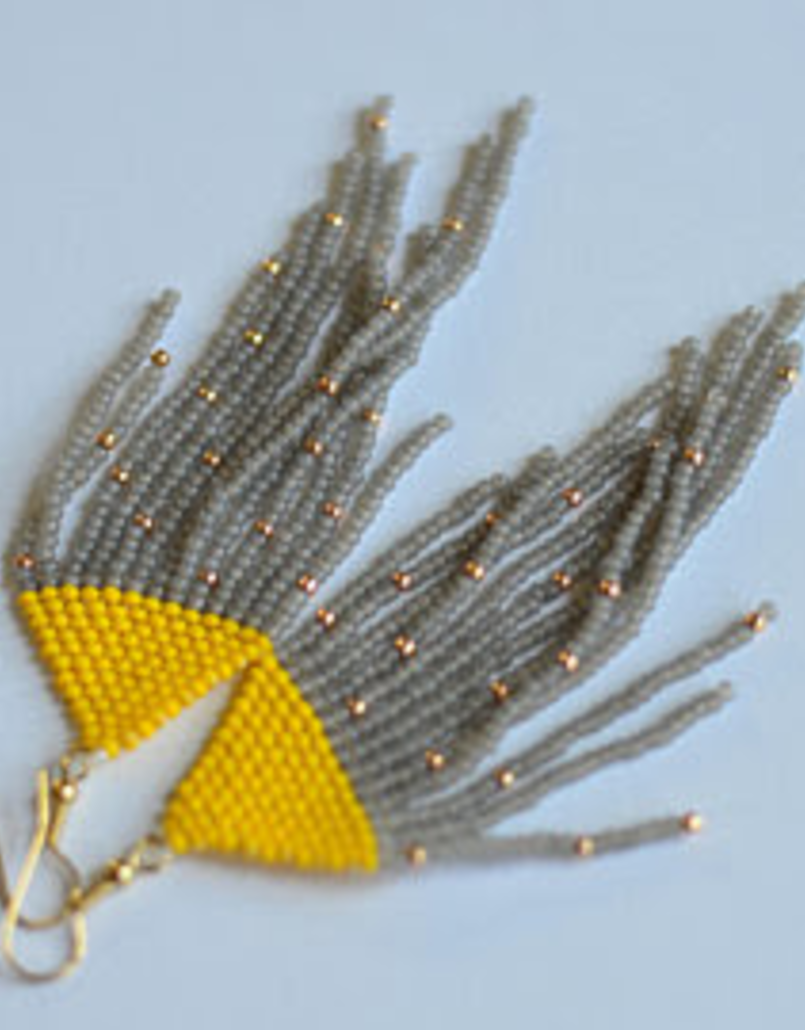 Boosiko Beaded Earrings - Yellow Grey Fringe #8