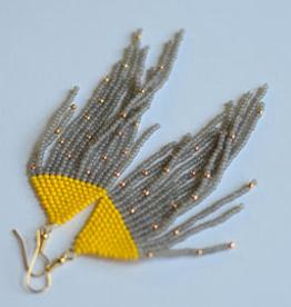 Boosiko Beaded Earrings - Yellow Grey Fringe