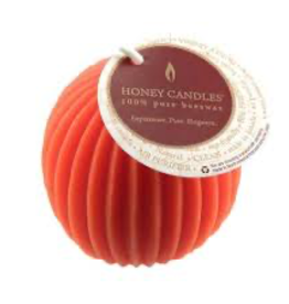 Honey Candles Honey Candles - Fluted Sphere - Tangerine
