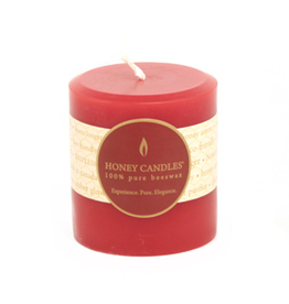 "Honey Candles Honey Candles 3"" Round Pillar-Red"