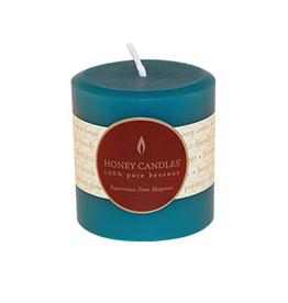 "Honey Candles Honey Candles 3"" Round Pillar-Glacier Teal"
