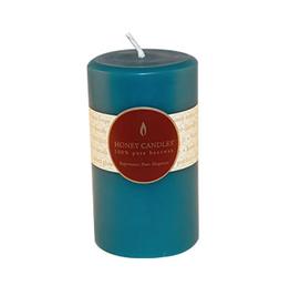 "Honey Candles Honey Candles 5"" Round Pillar-Glacier Teal"