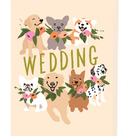 Paper E Clips Dogs And Wedding Flowers Card