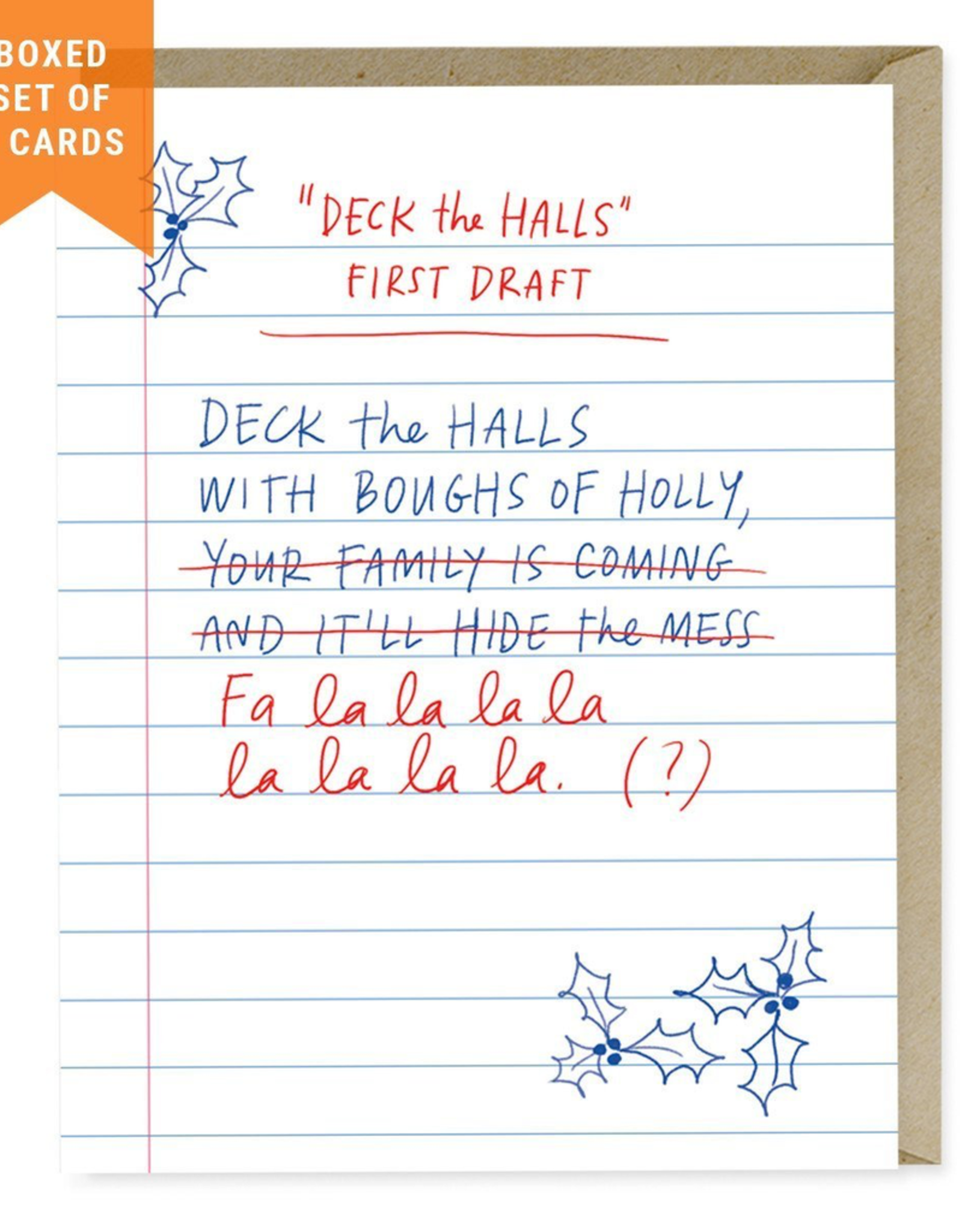 Paper E Clips Paper E Clips First Draft Deck The Halls Christmas Card-Boxed