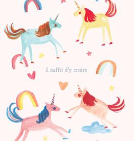 Paper E Clips French Unicorns Card