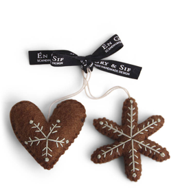 EGS Felted Gingerbread Heart And Star Ornaments