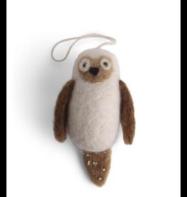 EGS Felted Mini Owl Ornament-White