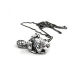 Elaine Ho Sterling Silver Beaver Necklace
