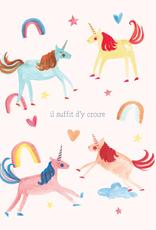 Paper E Clips Paper E Clips French Unicorns Card-9301