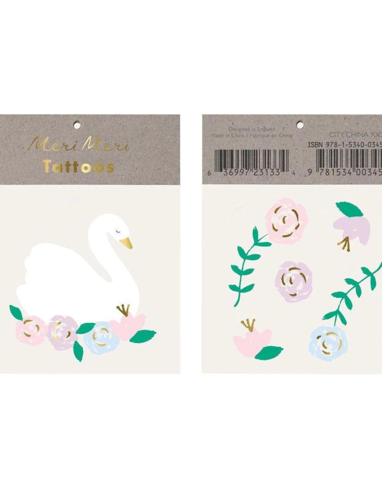 Meri Meri Meri Meri Floral Swan Tattoos