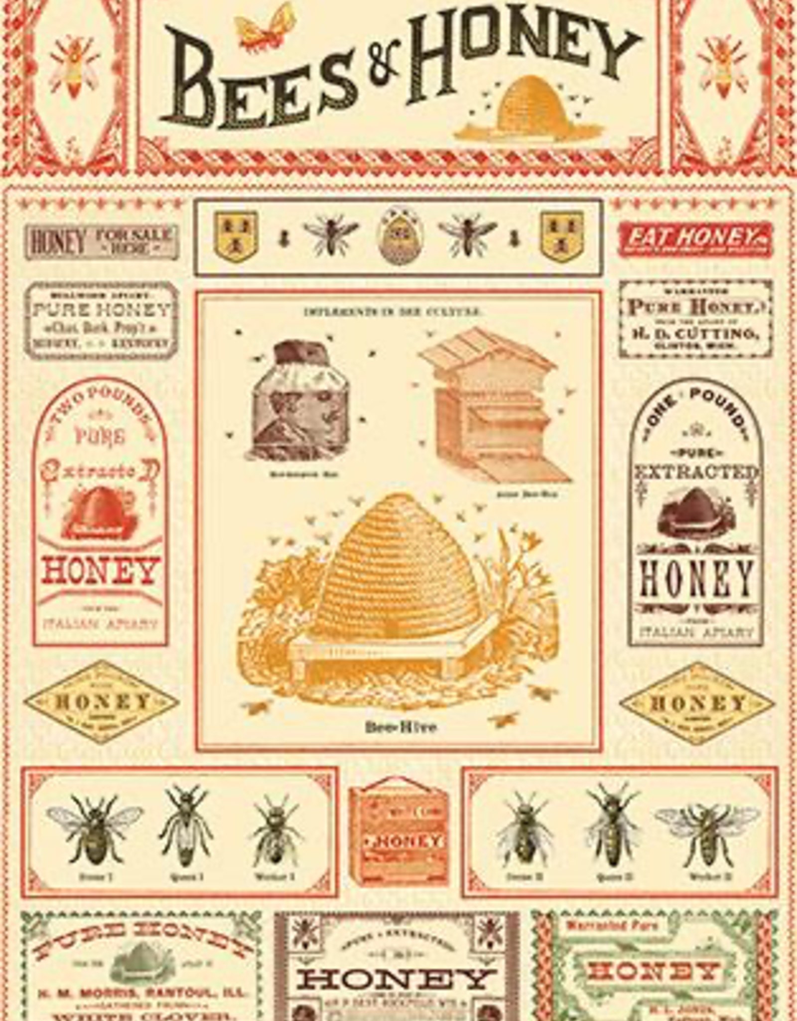 Cavallini Papers Cavallini Papers Bees And Honey Wrap