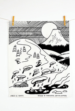 Forest & Waves Forest & Waves Snow Mountain Linen Tea Towel