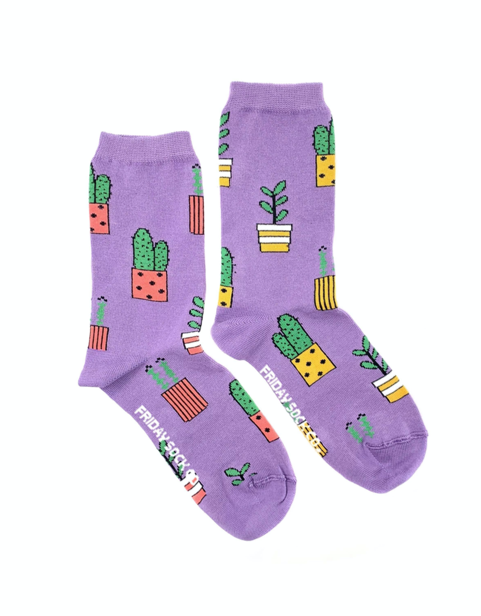 Friday Sock Co Friday Sock Co Purple Potted Plant Crew Socks