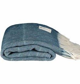 McNutt Irish Wool/Alpaca Blanket - Petrol Ombre