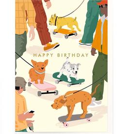 Paper E Clips Skateboarding Dogs Card