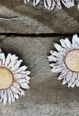 Leather Mini Daisy Earrings