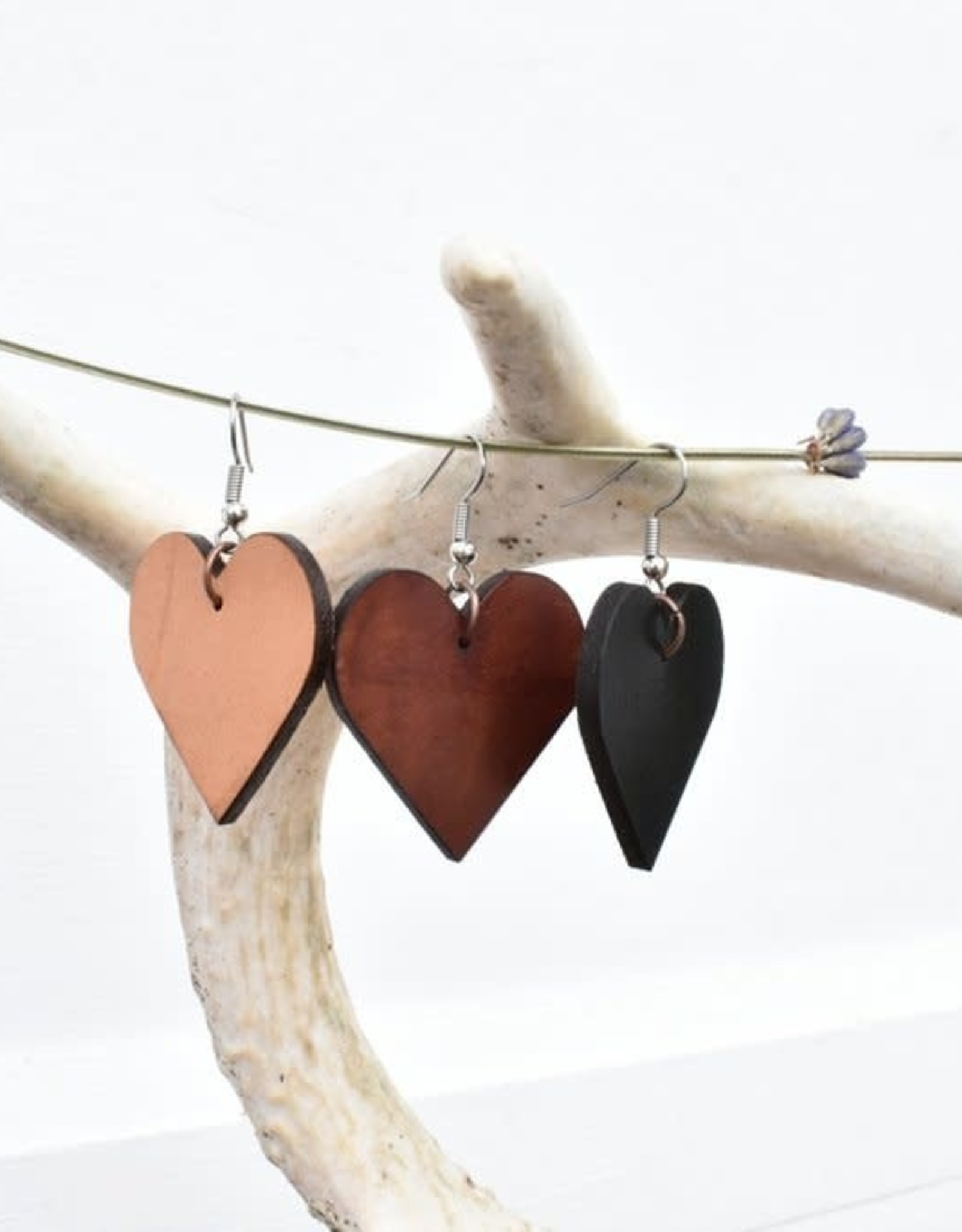 Leather Heart Earrings - Varied Colours