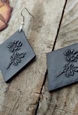 Leather Wild Rose Earrings