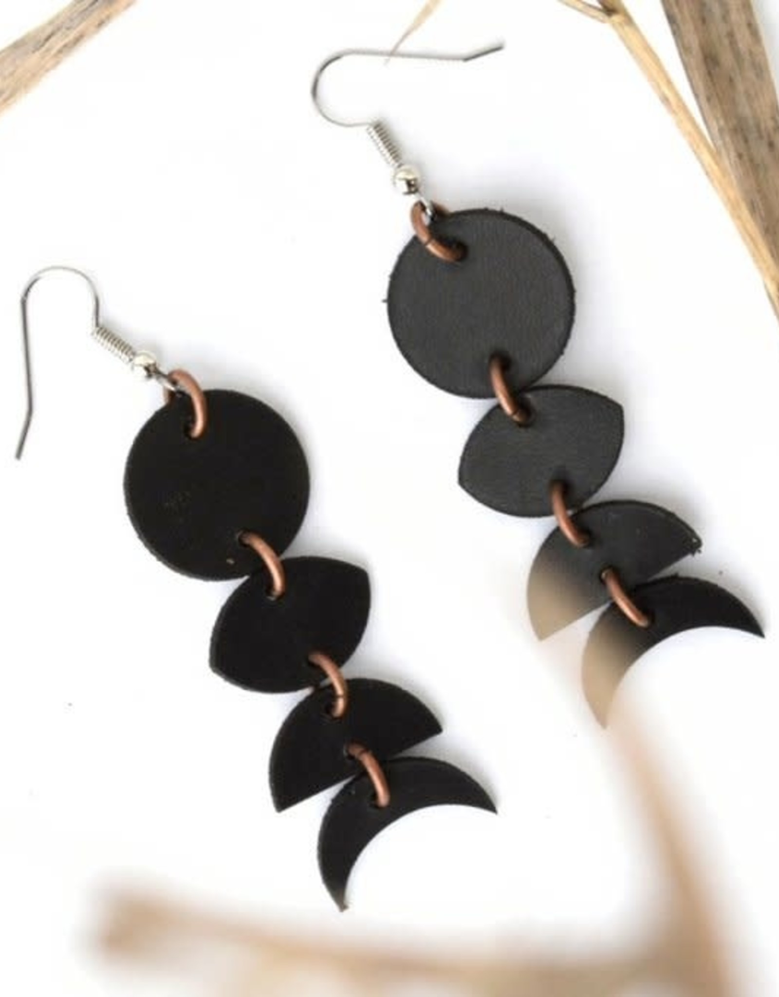 Leather Moon Phase Earrings