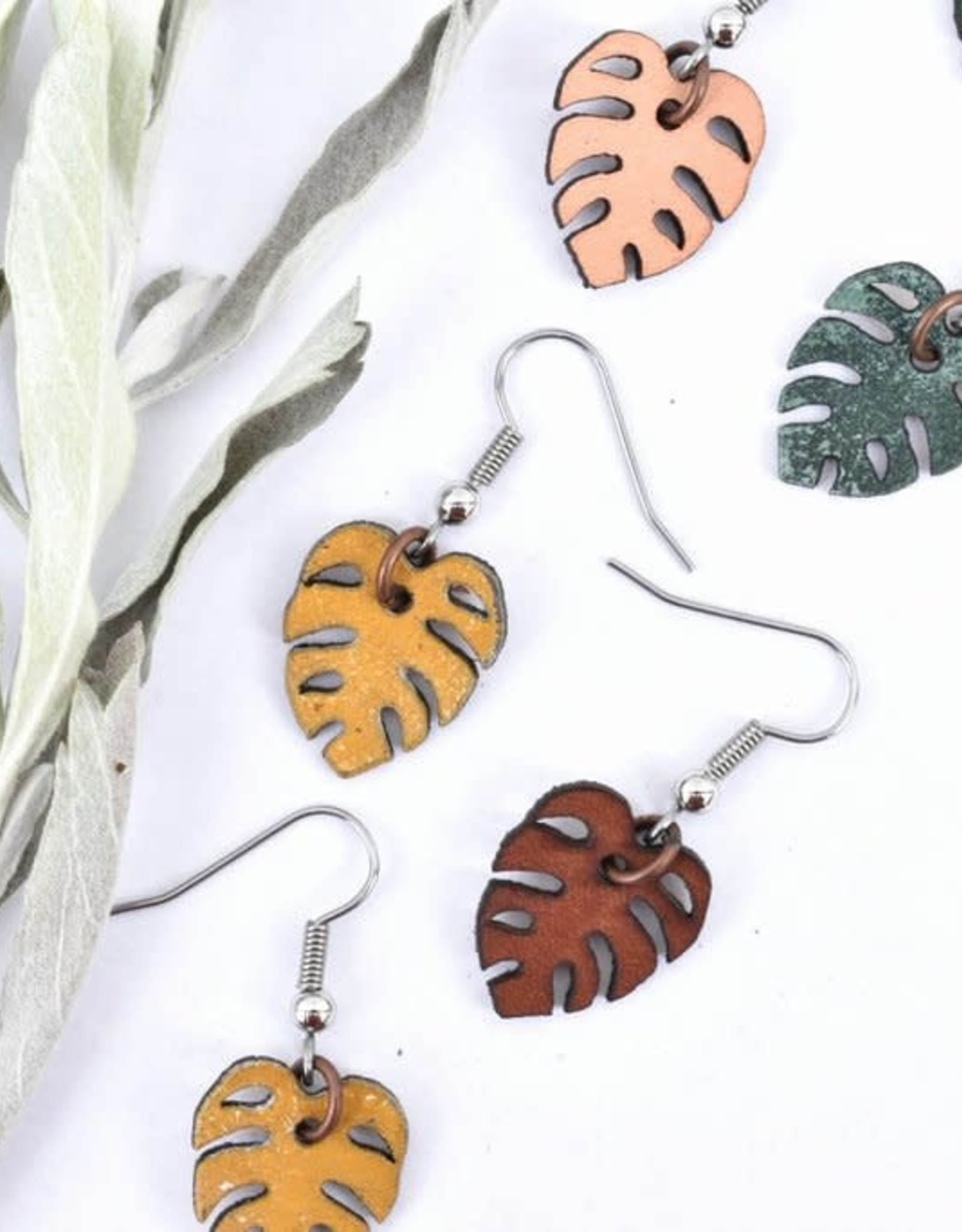Leather Mini Monstera Earrings - VariedColours