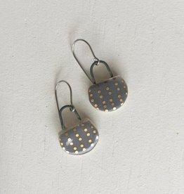 Dirt Light Shadow Gold Grey Porcelain Drop Earrings